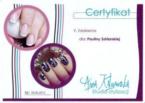 stylizacja paznokci certyfikat, zdobienia