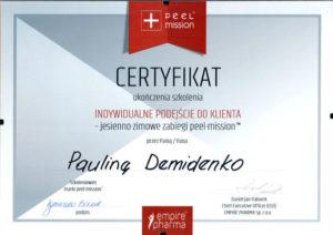 certyfikat indywidualne podejście do klienta, zabiegi peel-mission Paulina Demidenko