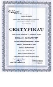 Certyfikat, Makijaż permanentny brwi, Paulina Demidenko, szkolenie