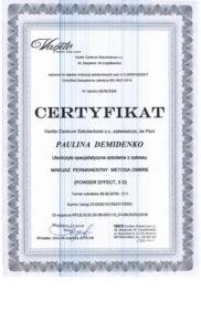 Certyfikat, Makijaż permanentny ombre, Paulina Demidenko, szkolenie