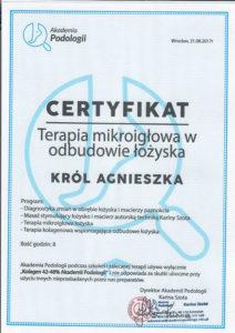 Certyfikat, Król Agnieszka, terapia mikroigłowa w odbudowie łożyska paznokcia