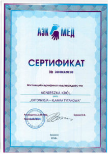 Certyfikat, Agnieszka Król, ortonyksja, klamra tytanowa, dermasana