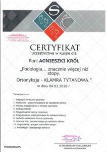 Certyfikat, Agnieszka Król, ortonyksja - klamra tytanowa
