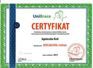 certyfikat dla Agnieszki Król za szkolenie o wrastających i wkręcających paznokciach