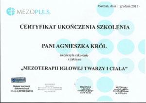 certyfikat ukończenia szkolenia z zakresu mezoterapii igłowej twarzy i ciała Agnieszka Król