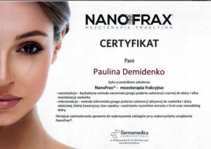 Certyfikat szkolenia NanoFrax - mezoterapia frakcyjna