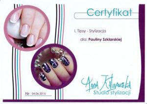 certyfikat stylizacji paznokci, tipsy
