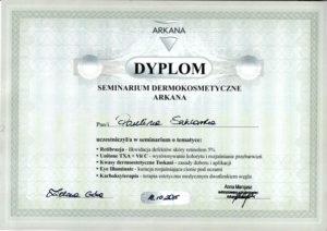dyplom uczestnictwa w seminarium dermokosmetycznym