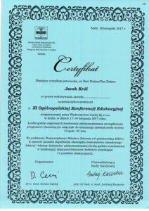 Certyfikat, Jacek Król, uczestniczył w ogólnopolskiej konferencji edukacyjnej
