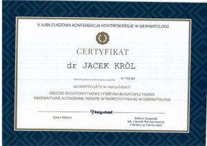 dr Jacek Król, warsztaty, osocze bogatopłytkowe, fibryna bogatopłytkowa