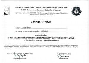 Zaświadczenie, Jacek Król, międzynarodowy kongres medycyny estetycznej i Anti-Aging
