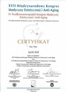 Jacek Król, certyfikat, międzynarodowy kongres medycyny estetycznej i Anti-Aging