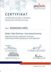 Certyfikat Agnieszka Król, stopa i staw skokowy - kurs zaawansowany