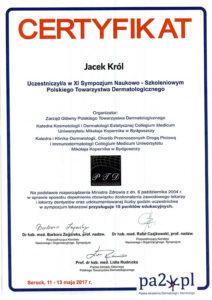Certyfikat Jacek Król, Sympozjum Naukowo-szkoleniowe polskiego towarzystwa dermatologicznego