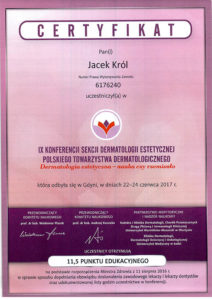 Certyfikat, Jacek Król, konferencja sekcji dermatologii estetycznej