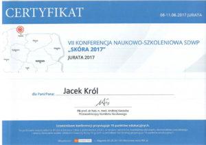 certyfikat, dr Jacek Król, konferencja skóra 2017