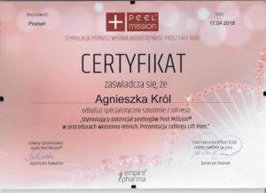 Certyfikat Agnieszki Król, stymulacyjny potencjał peelingów Peel Mission