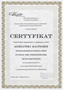 dyplom dla Aleksandry Kaczmarek za szkolenie ze stylizacji rzęs