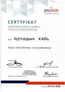 Certyfikat ukończenia kursu z zakresu podologii ortopedycznej, stopa i staw skokowy