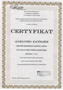 Certyfikat, Aleksandra Kaczmarek, stylizacja rzęs, przedłużanie rzęs