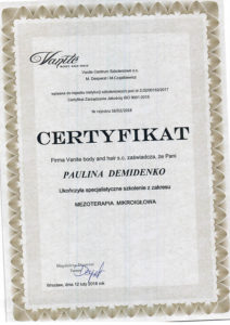 Dyplom Paulina Demidenko, specjalistyczne szkolenie, Mezoterapia Mikroigłowa