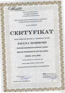 Certyfikat Paulina Demidenko, makijaż permanentny, metoda cienia kreski, usta, brwi