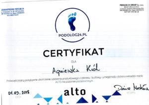 Dyplom dla Agnieszki Król, wkładki ortopedyczne ALTO
