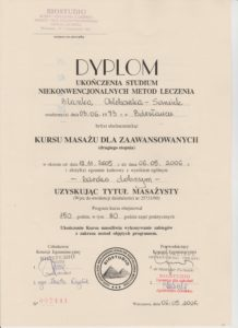 Blanka Chlebowska Saniuk certyfikat
