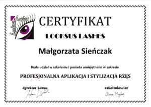 Malgorzata Krol certyfikat looksus lashes