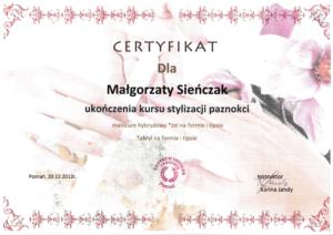 Malgorzata Krol certyfikat stylizacja paznokci